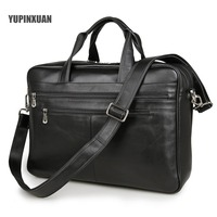 YUPINXUAN Europe Classical Black Cow Leather Travel Bags Men 17 Laptop Handbags Large Capacity Briefcases Leather