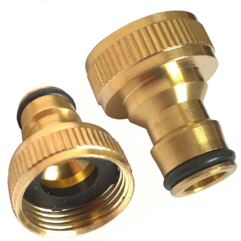 Brass Hose Tap Connector 34 Threaded Garden Water Pipe Adaptor Fitting Washing Machine Quick Connect Fitting Pipe Connection