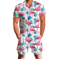 Flamingos Floral Print Rompers Men 3D Funny Graphic Short Sleeve Jumpsuit Mens Playsuit Overalls Summer Casual One Piece Outfits