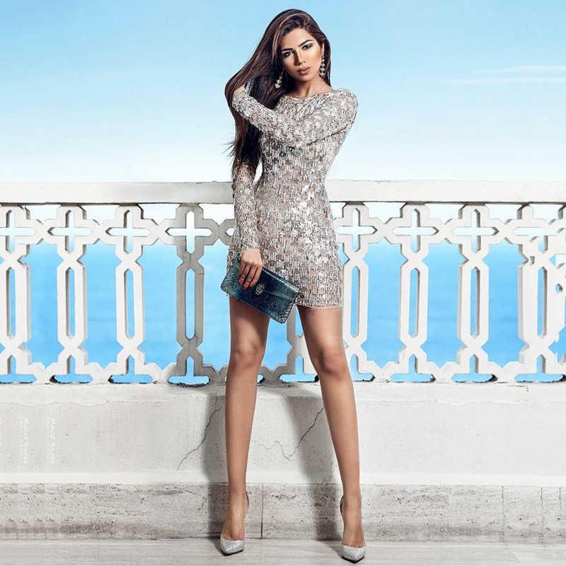 INDRSESME נשים חורף שמלת נצנצים בלינג O צוואר סקסי המפלגה Bodycon שמלות ארוך מלא שרוול מיני מועדון שמלה עבור גברת אופנה