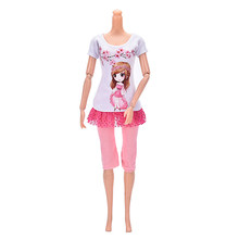 Kawaii Child Toy Casual Summer Outfits Suits For Barbie Doll Wintersweet Two-piece Set Best Gift Baby Toy Doll Accessories(China)