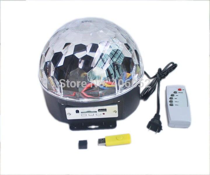 6*3 W LED numérique RGB MP3 cristal boule magique effet lumière musique Disco DJ fête scène éclairage + U disque télécommande lampe