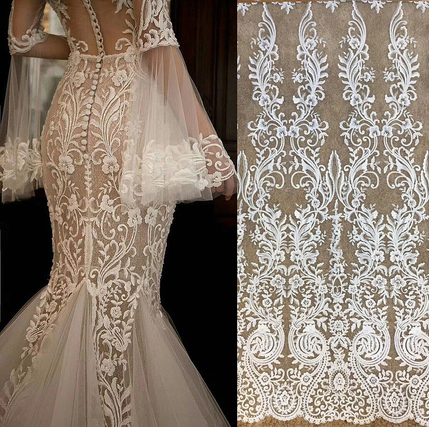 Free Shipping Imports White Sequins Embroidered Mesh Lace Fabric,  Lace Wedding Dress Fashion Wedding Decoration Fabric RS1110Fabric   -