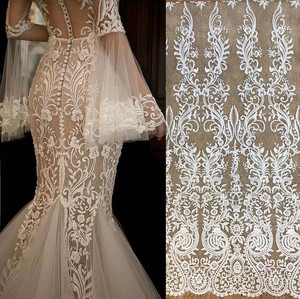 Image 1 - Free Shipping Imports White Sequins Embroidered Mesh Lace Fabric, Lace Wedding Dress Fashion Wedding Decoration Fabric RS1110