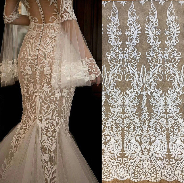Free Shipping Imports White Sequins Embroidered Mesh Lace Fabric, Lace Wedding Dress Fashion Wedding Decoration Fabric RS1110
