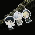 1PC 2017 New Unisex Women Vogue Acrylic Key Chain Ring Keyring Pendant By Anime Yuri!!! On ICE Victor Nikiforov Keychain Gift