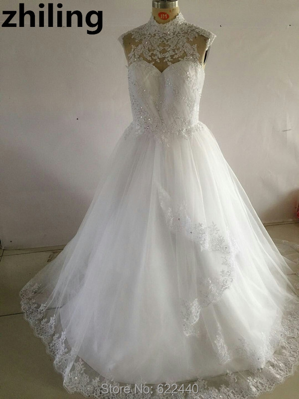 Unque Design High Neckline Wedding Dresses Cap Sleeves Ruched Bridal Wedding Gown Beaded Bride Dress