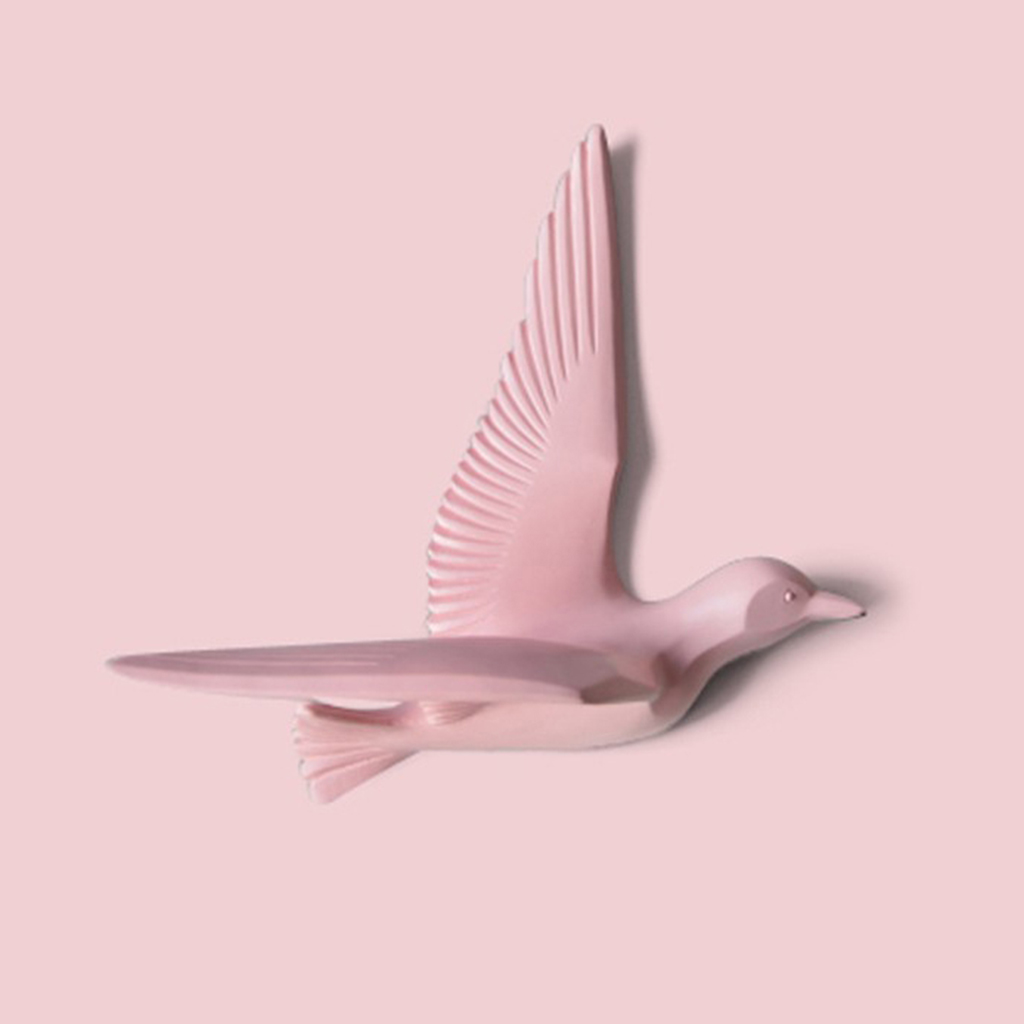 5pcs Resin Bird Creative Wall Murals Wall Decoration 3D Bedroom Wall Stickers TV background Wall Decorations Pink