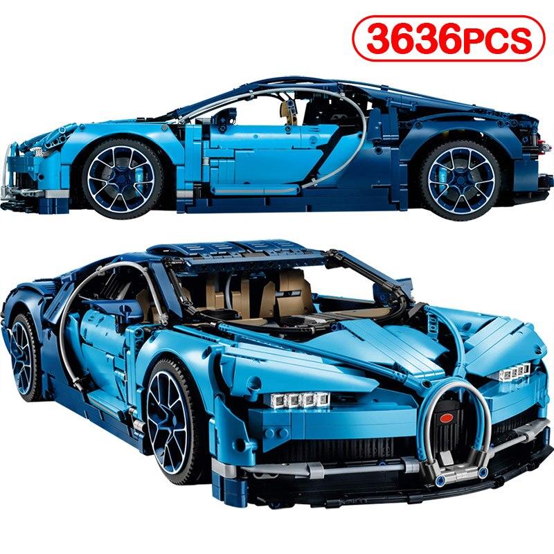 3636pcs Bugatti Blue Model Compatible Legoinglys Chiron Race Car 42083 Technic Creator MOC Toys Classic For Kids Building Blocks new technic series race car 20086b 23002 bugatti blue chiron brick 42083 moc 4789 model building block christmas gifts