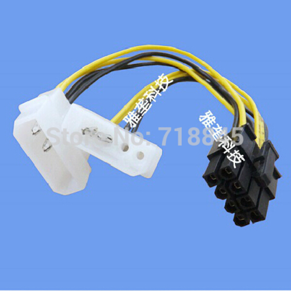 Factory Wholesale D TYPE 2 4 Pin(F) to 8 Pin(M) PCI-E graphic card Power cable support GTX280 9800GX2 GTX295