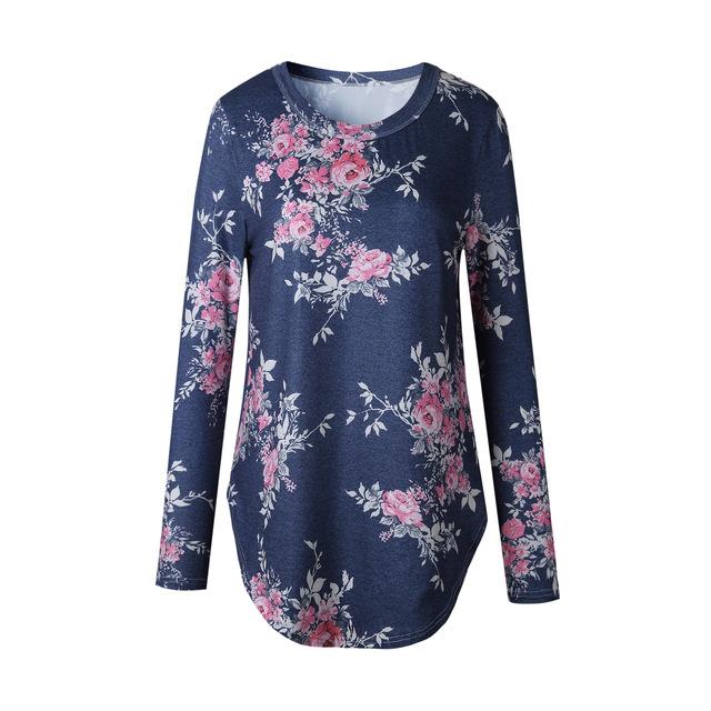 Women O Neck Flower Print Casual Tee Shirt Slim Female T shirt