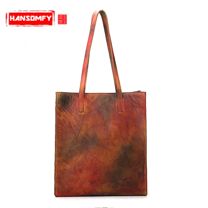 The new retro Genuine leather Women handbags large-capacity hand-rubbed the first layer of leather Female shoulder shopping bagThe new retro Genuine leather Women handbags large-capacity hand-rubbed the first layer of leather Female shoulder shopping bag