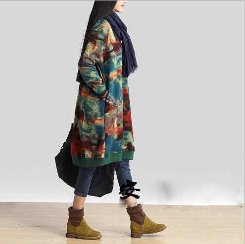 2019 neue Herbst und Winter Kleidung Frauen Lange-Ärmeln Kleid Damen Lose Green Floral Bedruckte Baumwolle Kleider Plus Größe e854
