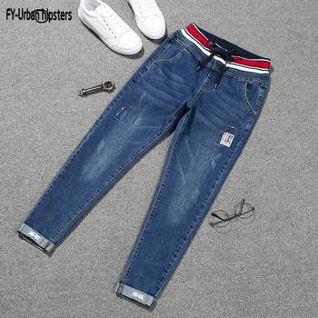 Jeansy ze streczem mujer 2019 plus rozmiar spodnie z koronką dżinsy damskie duże rozmiary denim elastyczna łatka harlan mankiet ołówek femme jeans woman tanie i dobre opinie FY-URBAN BIODRÓWKI Kostki długości spodnie Elastan COTTON Na co dzień women nine jeans 013 Stripe Harem spodnie REGULAR
