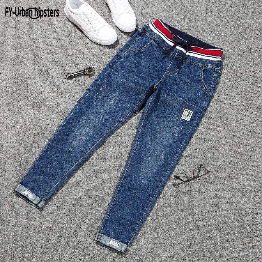 Stretch jeans femme 2018 nouveau plus size lace up jeans women denim elastic Nine cropped patch harlan cuff pencil jeans women