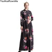 YouMustKnowMe Дизайнерские макси длинные платья взлетно посадочной полосы 2018 Высокое качество Женские винтажные Длинные рукава с цветочным прин
