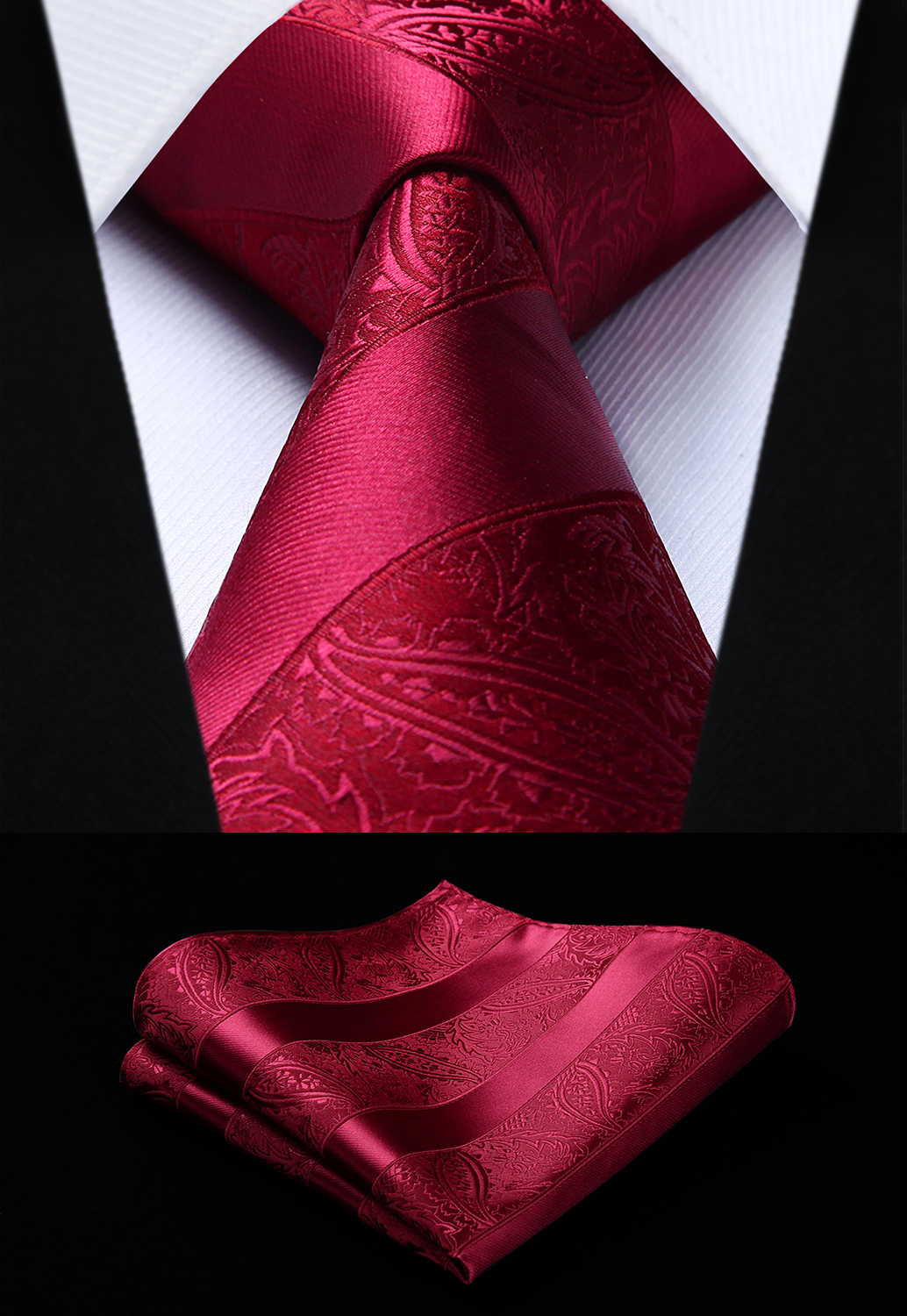 Party Wedding Classic Fashion Pocket Square Tie Woven Men Burgundy Tie Paisley Necktie Handkerchief Set#TP804U8S