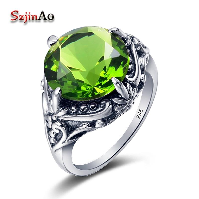 800985f744e0 Szjinao joyería de la manera de las mujeres 100% 925 anillo de plata  antiguas luz verde Peridot plata Anillos hecho a mano al por mayor