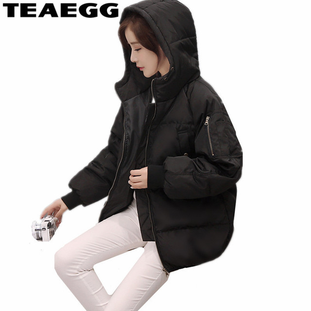 0b53ef607d0c TEAEGG Black Hooded Woman Winter Coats And Jackets 2019 Cotton Jacket  Winter Women Clothes Warm Casual Ladies Coats Parka AL101