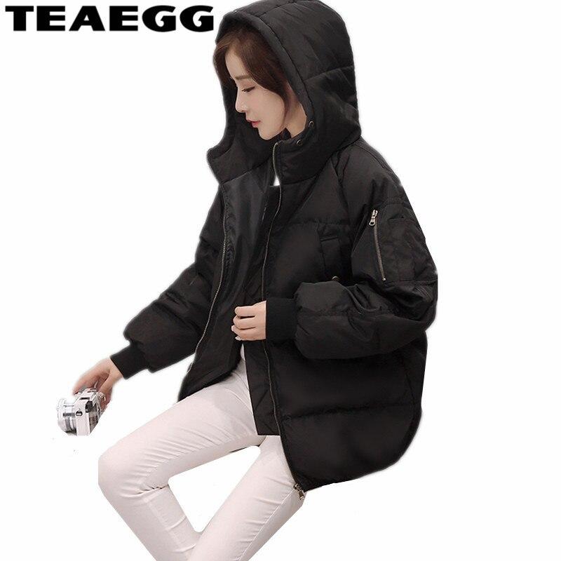 THÉEGG Noir À Capuche Femme Hiver manteaux et vestes 2019 jacket de coton D'hiver vêtements pour femmes Chaud décontracté Dames Manteaux Parka AL101