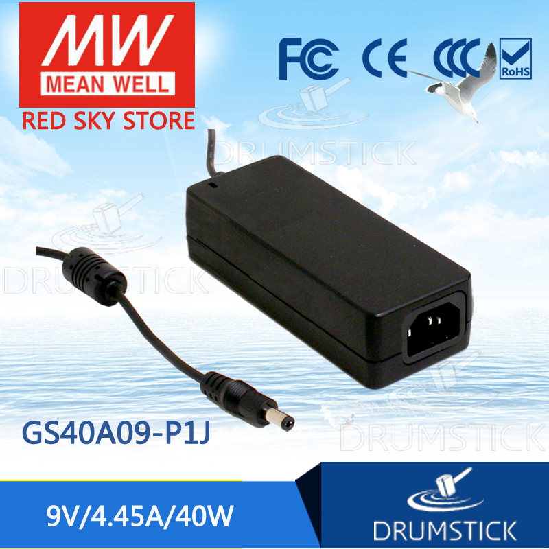 ФОТО Redsky [free-delivery 2Pcs] MEAN WELL original GS40A09-P1J 9V 4.45A meanwell GS40A 40W AC-DC Industrial Adaptor