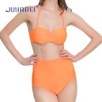 JUYABEI Marca de Alta Calidad de Sexy Girl traje de Baño A Rayas Mujeres de Cintura Alta de Naranja Traje de Baño Bikini conjunto 2018 Señoras Del Traje de Baño Caliente