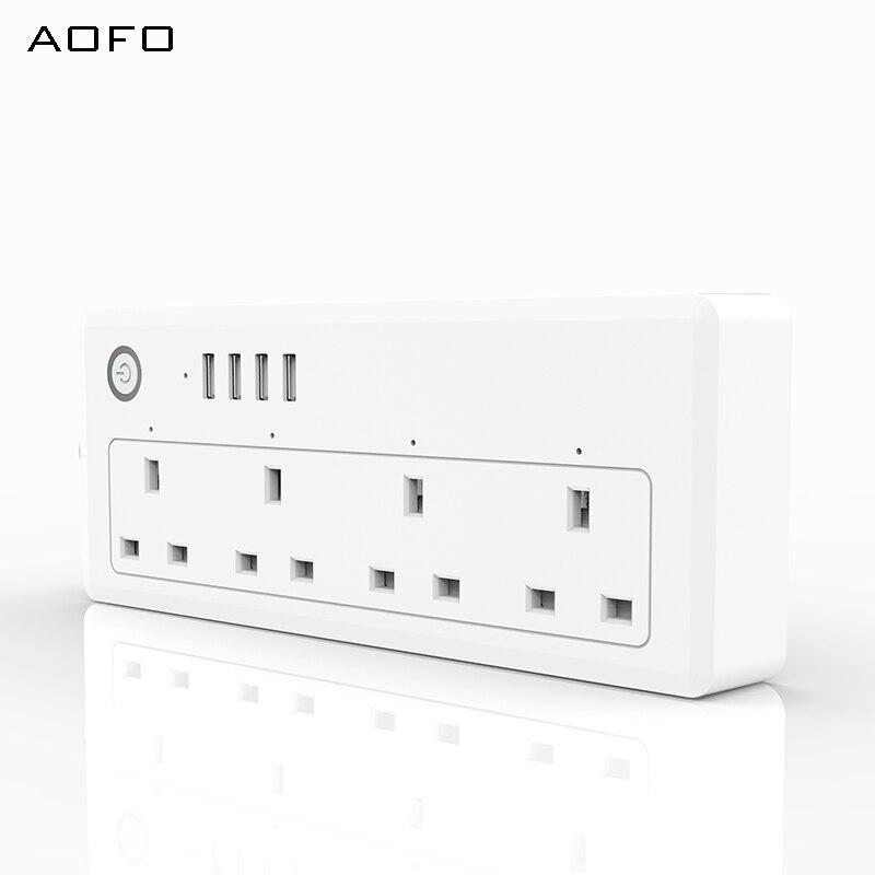 AOFO WiFi силовая полоса, стандарт Великобритании, 100 240 В, 13А, номинальная умная розетка удлинитель alexa и google home Tuya App USB - 3