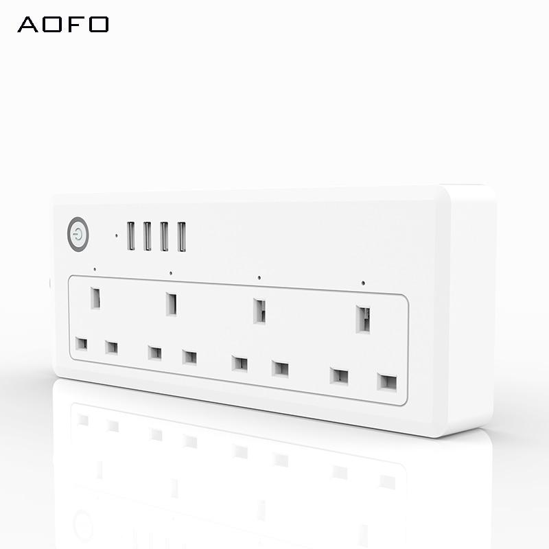 AOFO WiFi Power streifen UK standard 100 240V 13A bewertet smart steckdose alexa und google home Tuya app USB - 3