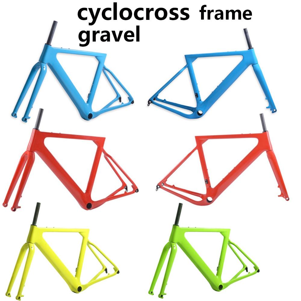 2018 New Cyclocross Frame Aero Road or Gravel Bike Frame S/M/L size Disc Bike Carbon frameset QR or thru axle