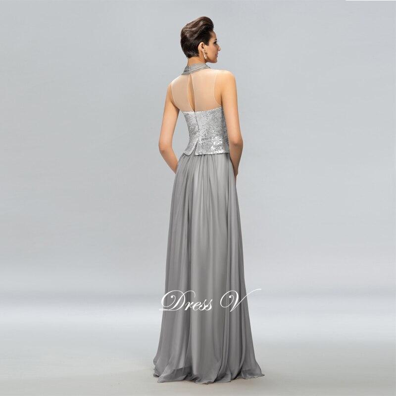 Dressv Hot Sale Långaftonklänning Grå Halter A-Line Pleats - Särskilda tillfällen klänningar - Foto 2