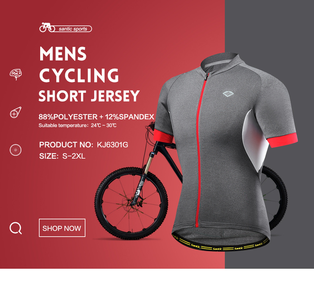 Santic Men Cycling Short Jersey Pro Fit SANTIC N-FEEL High Tech Fabric Road Bike MTB Short Sleeve Top Riding Shirt KJ6301G