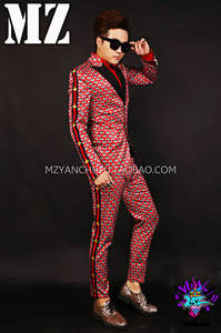 DJ Suit Plaid Male Men's Pants Clothing Jacket Performance Singer Personality Bar Red