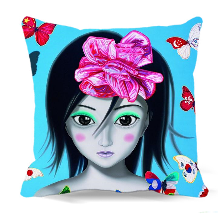 Her head was tied with a bow of soft Cushion Cover 40 45 48 cm Cotton Polyester Throw Pillow Cover Sofa Bed car home Decorative