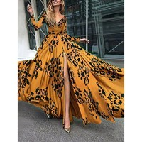 2019 Women's Maxi Boho Dress Summer Casual Beach Party Long Sundress Long Sleeve Sexy Dress