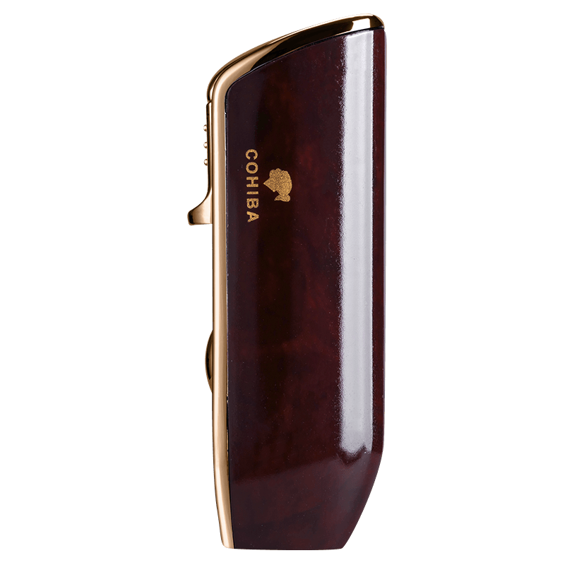 Купить с кэшбэком COHIBA Metal Cigar Lighter Windproof 3 Blue Jet Flame Cigarette Torch Lighters Butane Gas Lighter Refillable