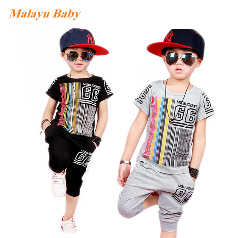 Malayu Baby brand 2018 summer new boy children's sports suit, striped printed letters short-sleeved T-shirt and pants two sets vlinder 2017 new 2 sets of tiger autumn and winter male baby cotton long sleeved t shirt tie with harem pants boy suit