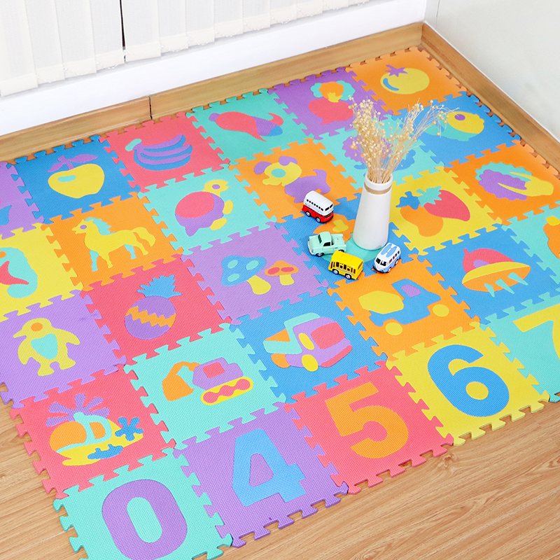 10PCS Educational Baby Play Mat Eva Foam Number Animal Interlocking Puzzle Carpet Mat Developing Crawling Mat Kids Gym PlayMat