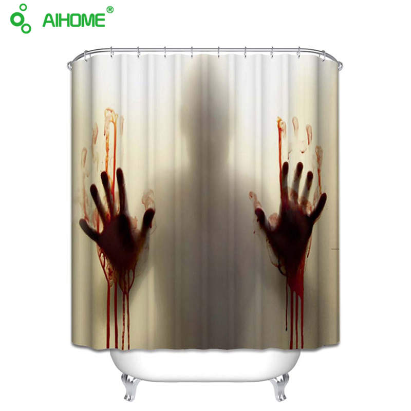 Bloody Bathroom Waterproof Mildewproof Polyester Shower Curtain Bath  Decorations With 12pcs Hooks