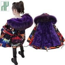 -30 russian Kids Girls winter coat Long Padded down fashion girl parka Warm Thicken fur Hooded Coats Teen Outwear snowsuit цена