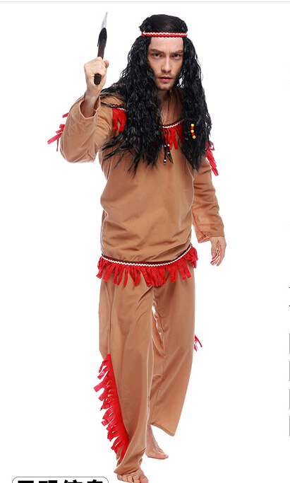 free shipping Halloween costume man savage cosplay costume brown free size
