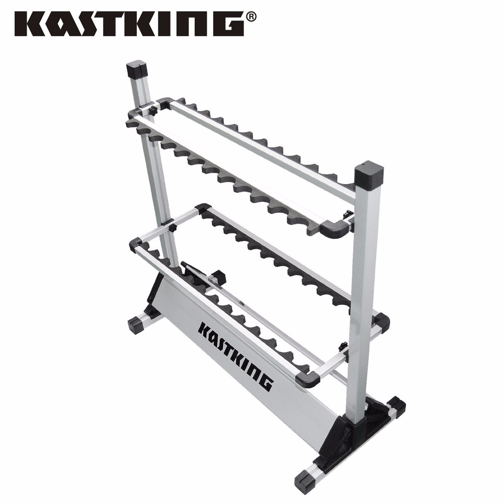 KastKing Portable Aluminum Fishing Rod Racks with New Package 24 Rod Rack for All Types of Fishing Rods and Combo