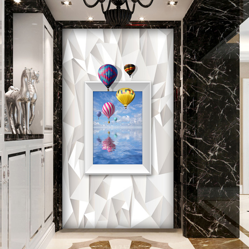 3D photo wallpaper Porch corridor aisle door cabinet background wallpaper 3D marine balloon photo wall fashion mural wallpaper