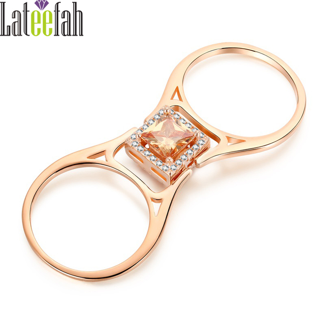 Lateefah Unique Two Sides Wedding Rings for Women Rose Gold Color Princess Cut C