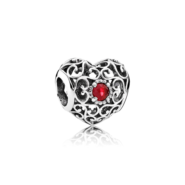 Dazzling 925 Sterling Silver Openwork Heart Shape with Red CZ Beads Fit Charms DIY Bracelets for Valentine'Day Gift