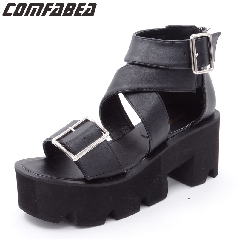 Fashion 2018 Summer Sandals Shoes Women Thick Heel Sandal Casual Platform Sandals Outdoor Women Sandal Punk Shoes Zipper rhinestone silver women sandals low heel summer shoes casual platform shiny gladiator sandal fashion casual sapato femimino hot