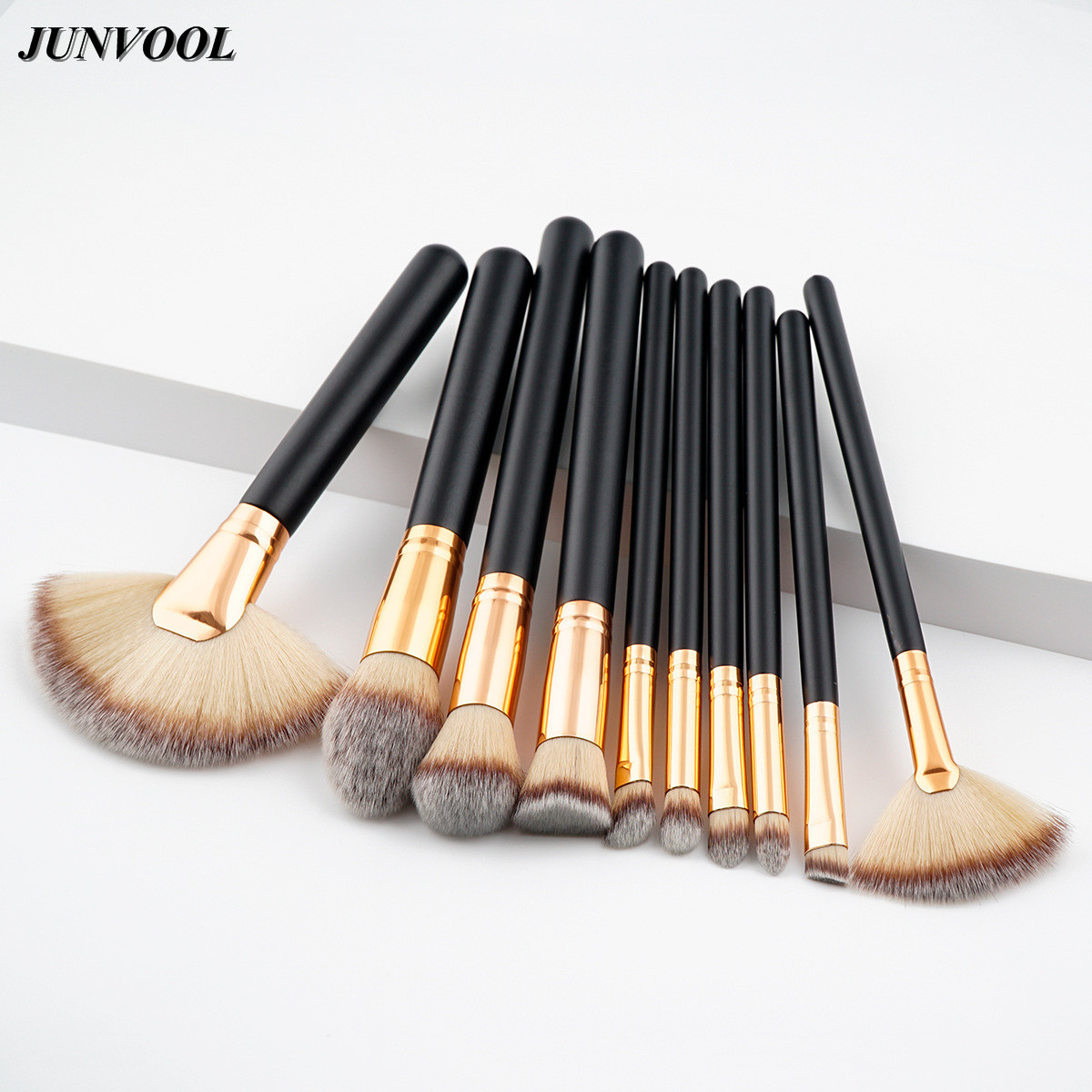 Big Fan Cosmetic Brush Soft Blending Pencil 10pcs Black Gold Foundation Eye Shadow Eyeliner Lip Makeup Artist Brushes Tool Kit cosmetic makeup dual head eyeliner pencil white black