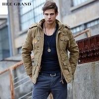 HEE GRAND Men Fashion Thick Parkas Stand Collar Autumn Windproof Plus velvet Stylish Whole Cotton Material Coat 3 Colors MWM1357