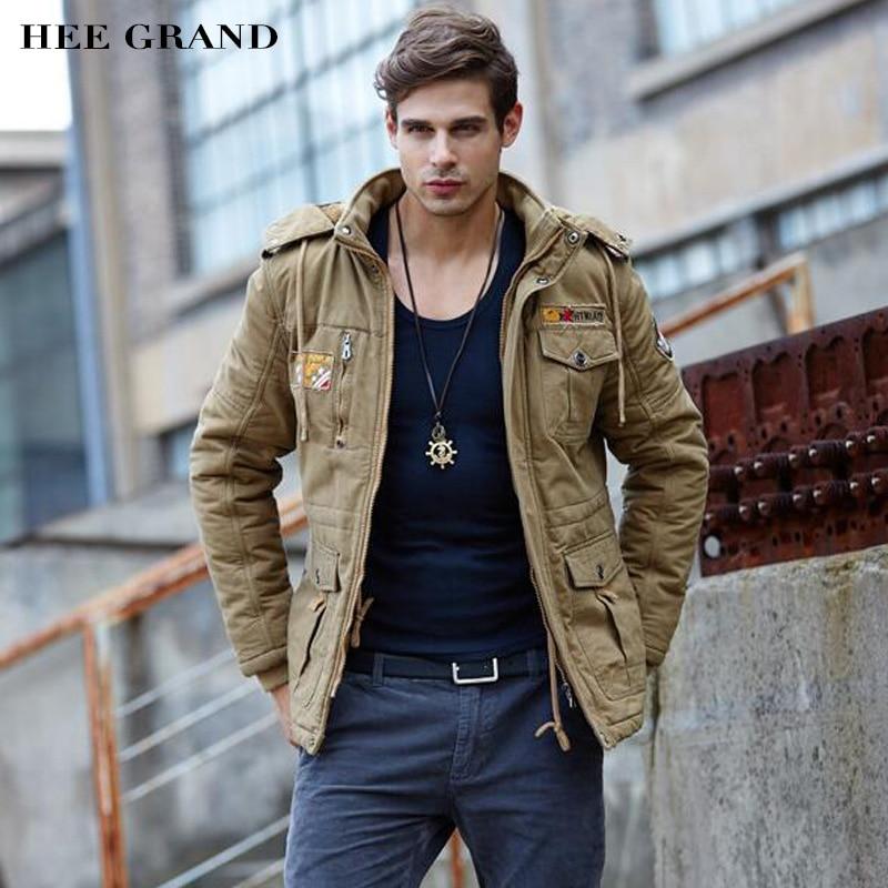 HEE GRAND Men Fashion Thick Parkas Stand Collar Autumn Windproof Plus velvet Stylish Whole Cotton Material Coat 3 Colors MWM1357 parker перьевая ручка parker s0690410