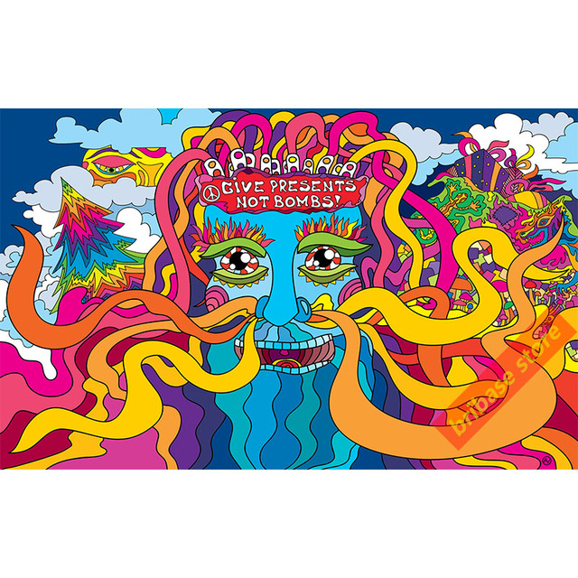 129 choices psychedelic series silk poster abstract art posters