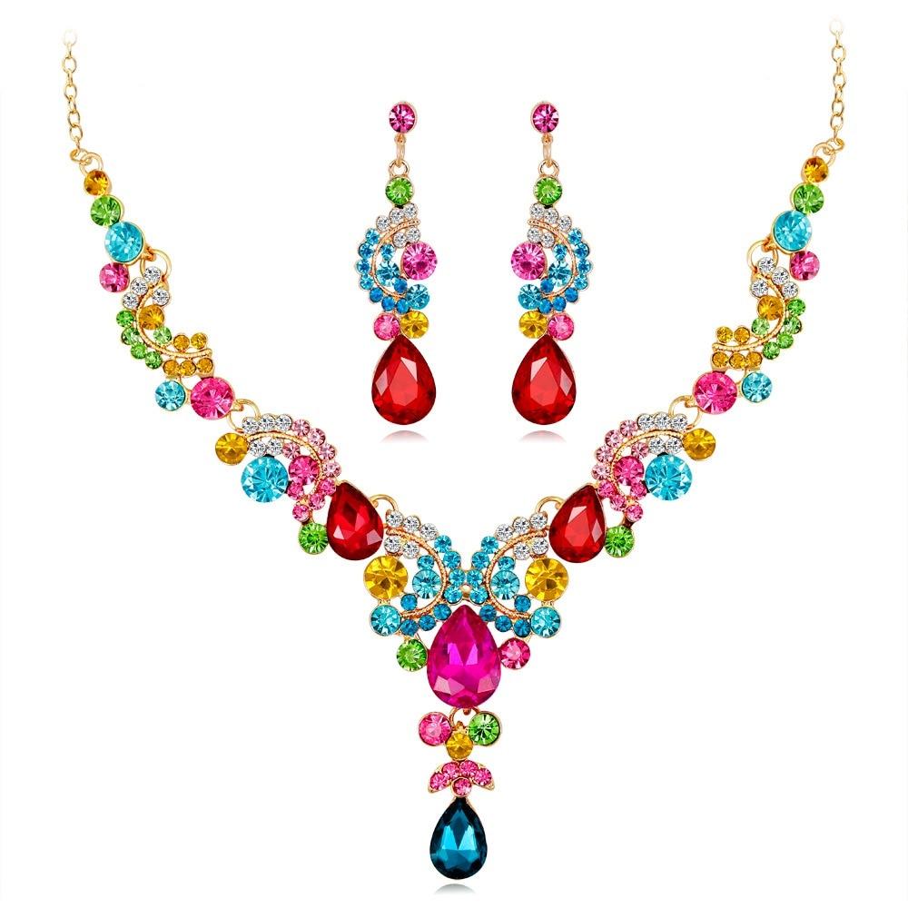 Jewelry Sets for Women Crystal Rhinestone Colorful Elegant luxury fashion Wedding Bridal Necklace Earrings Dropship